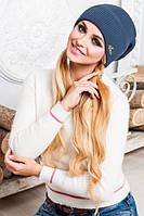 """Женская  шапка с бубоном """"Лола""""  (джинс)"""