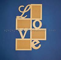 Рамка для фотографий LOVE  заготовка для декупажа и декора