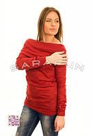 Туника женская красная с длинным рукавом