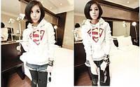 Толстовка женская с капюшоном белая супермен (supermen)