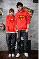 Толстовка женская с капюшоном красная супермен (supermen)