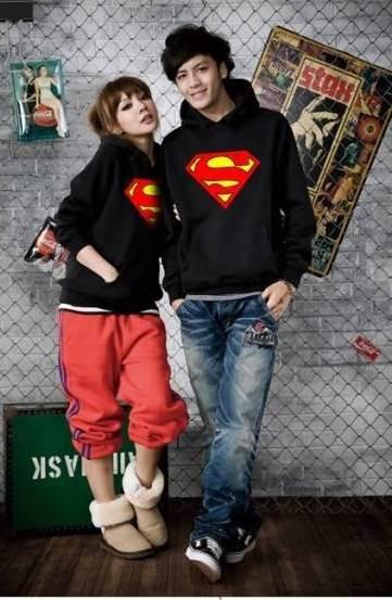Толстовка женская с капюшоном черная супермен (supermen)