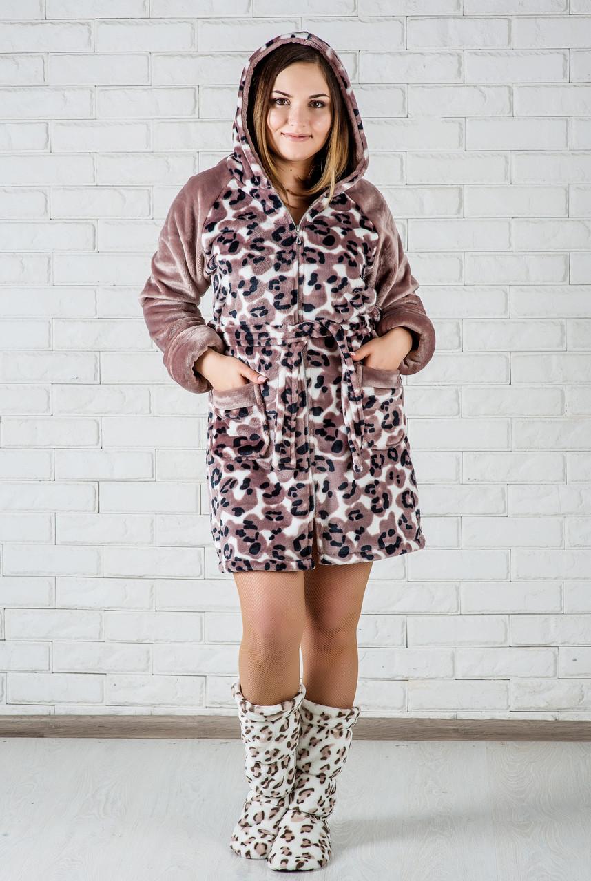 fa44a51a33c32 Халат женский махровый леопардовый короткий: продажа, цена в Днепре ...