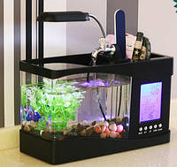 Настольный USB-аквариум с часами и термометром, 2 цвета в наличии