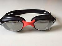 Очки для плавания зеркальные SELEX черн/красные