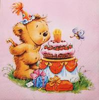 Салфетка для декупажа День рождения у мишки розовый фон 3062