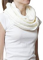 Купить снуд вязаный шерстяной белый