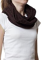 Снуд вязаный шерстяной коричневый, фото 1