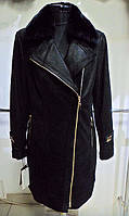 Френч кожаный в лазерном покрытии косуха воротник бобер съёмный на синтепоне длина 90см  46-50р ОГ-9