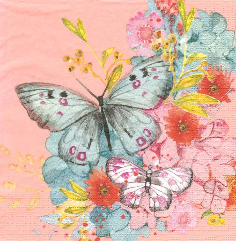 Салфетка декупажная Бабочка на розовом фоне 6248
