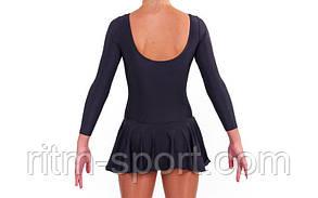 Купальник гімнастичний зі спідницею (чорний, біфлекс, зростання 110-155 см), фото 2