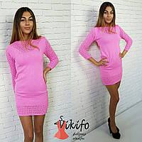 Платье вязаное яркое турецкая пряжа разные цвета SMf670
