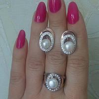 Набор Илада Себеро с напайками  золота, жемчуг. кольцо серьги р 18.5 в наличии.