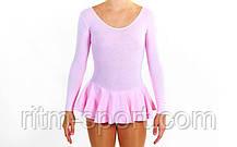 Купальник гімнастичний з спідницею рожевий, фото 3