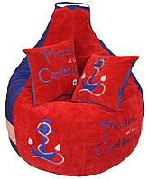Бескаркасное кресло-пуф  груша детское мягкое Морское, фото 1