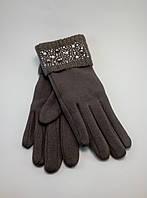 Перчатки женские хлопок с вязаным манжетом украшенные бусинками (разные цвета)