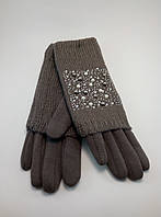 Перчатки женские трикотаж с довязом украшенные бусинками (разные цвета)