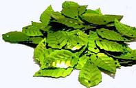 Паетки листик березовый зеленый с блестками 2,5см (100 грамм)