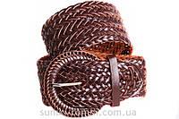 Широкий плетеный пояс в коричневом цетовом решении