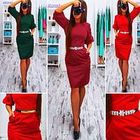 Платье-футляр миди с карманами коттон-мемори 3 цвета SMb672