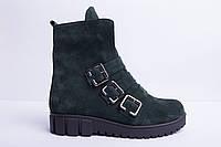 Ботинки из натуральной зеленой замши №355-2, фото 1
