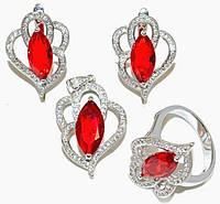 """Набор ХР """"кулон,серьги и кольцо """"Цвет:серебряный ; Камни:красный циркон и  белые фианиты."""