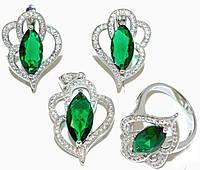 """Набор ХР """"кулон,серьги и кольцо """"Цвет:серебряный ; Камни:зелёный циркон и  белые фианиты."""