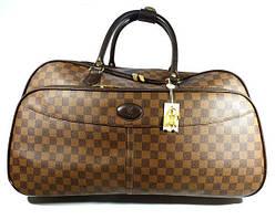 Чемодан сумка дорожная на колесах кожа PU коричневая шашки 58 л, 55*34*31 Louis Vuitton 8654
