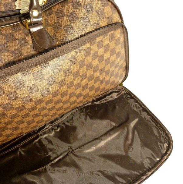 36680a6be979 ... Чемодан сумка дорожная на колесах кожа PU коричневая шашки 58 л, ...