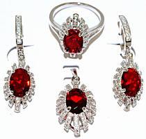 """Набор ХР """"кулон,серьги и кольцо """"Цвет:серебряный ; Камни: красный циркон и  белые фианиты. Есть: 17р.20р."""