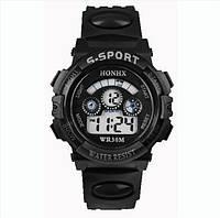 Спорт-часы электронные наручные водонепроницаемые, противоударные, секундомер, цвет чёрный