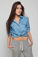 Рубашка женская синяя на пуговицах под джинс, фото 1