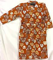 Женский халат байковый (теплый) с рукавами пуговица, фото 1