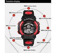 Спорт-часы электронные наручные водонепроницаемые, противоударные, секундомер, цвет чёрно-красный