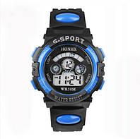 Спорт-часы электронные наручные водонепроницаемые, противоударные, секундомер, цвет чёрно-синий