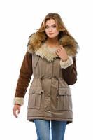 Парка модная женская зима с меховой опушкой  (3 цвета)