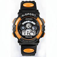Спорт-часы электронные наручные водонепроницаемые, противоударные, секундомер, цвет чёрно-оранжевый, фото 1