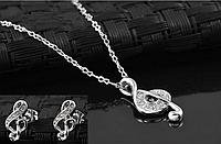 """Комплект Swarovski """"Скрипичный ключ в серебре"""", фото 1"""