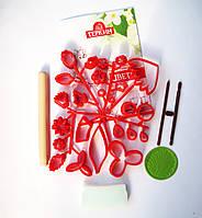 """Набор вырубок """"Цветы и листья"""" + инструменты+ книга учебник (29 предметов)"""