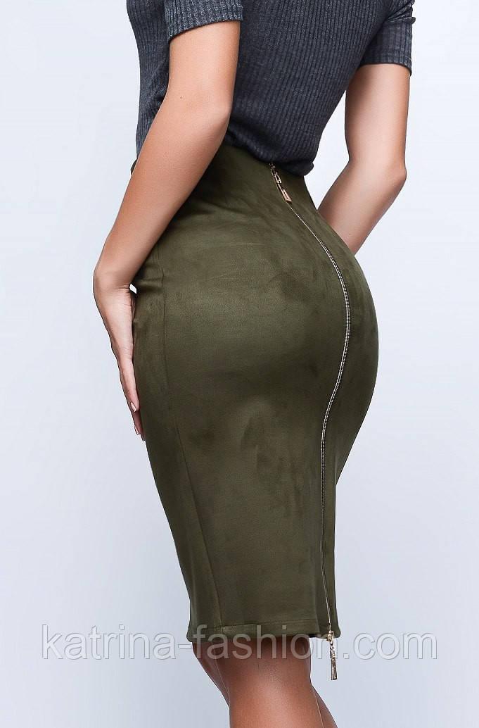 Женская стильная юбка-карандаш из замши с высокой посадкой на молнии (3 цвета)