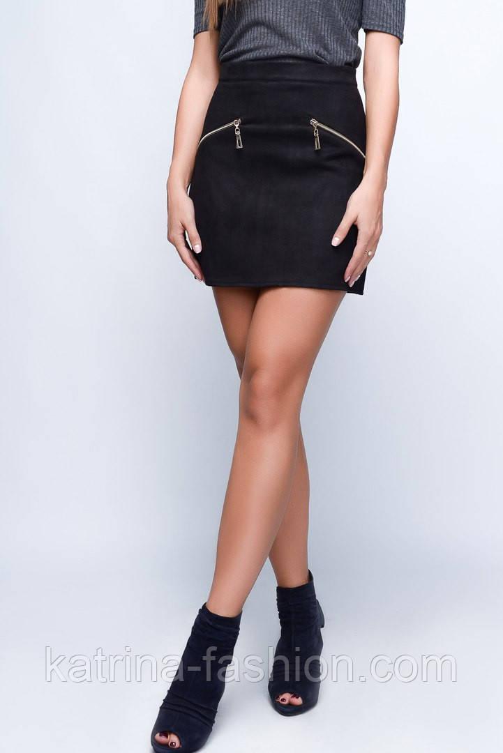 Женская стильная замшевая короткая юбка-трапеция с молниями