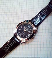 Женские часы Omega 114319 серебристые с черным ремешком, календарь, линза