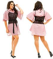 8c05df1d71f Платье-рубашка женское короткое с гипюровым топом P3941