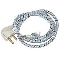 S 210 Шнур сетевой с евровилкой голубая оплетка 16А 220В(3*0.75мм) 2м
