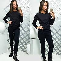 Женский спортивный костюм ткань трикотаж цвет черный