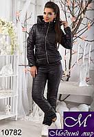 Женский черный спортивный костюм на синтепоне р. 42-46 арт. 10782