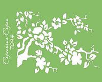 Трафарет цветущее дерево