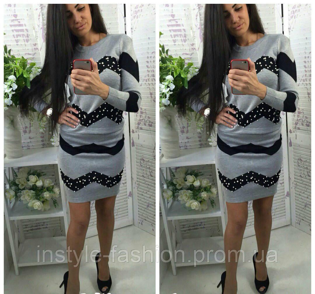 Стильный и модный костюм кофта и юбка цвет светло-серый