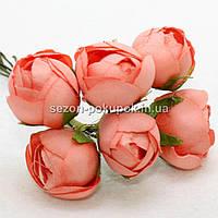 "Цветок ""Бутон пиона"" (цена за букет из 6 шт). Цвет - коралл"