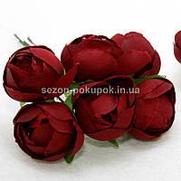 """Цветок """"Бутон пиона"""" (цена за букет из 6 шт). Цвет - бордовый"""